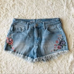 Mossimo Boho Floral Embroidered Frayed Jean Shorts